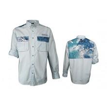 A-Game Camo Elixir Ultra Marine Blue Long Sleeve Button Down Shirt