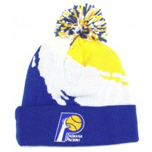 NBA Officially Licensed Indiana Pacers Mitchell & Ness Blue White Yellow Broken Stripe Cuffed Pom Beanie Hat