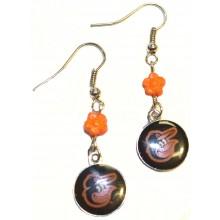 MLB Officially Licensed Baltimore Orioles Flower Style Dangle Earrings