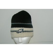 NFL Philadlphia Eagles Cuffless Striped Embroidered Logo Beanie Hat Cap