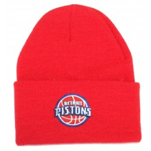 NBA Officially Licensed Detroit Pistons Red Logo Cuffed Beanie Hat Cap Lid