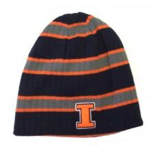 NCAA Licensed Illinois Illini  Reversible Striped Embroidered Beanie