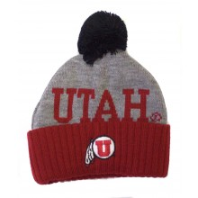 NCAA Officially Licensed Utah Utes Red Cuffed Black Pom Beanie Hat TODDLER SIZE