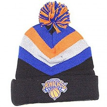 NBA Officially Licensed New York Knicks Mitchell & Ness Knit Black Blue Gray Orange Striped Cuffed Pom Beanie Hat Cap Lid