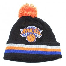 NBA Officially Licensed New York Knicks Mitchell & Ness Knit Black Striped Cuffed Orange Pom Beanie Hat Cap Lid