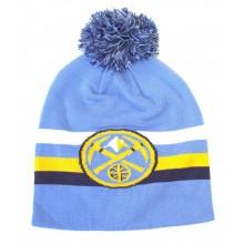 Denver Nuggets Mitchell & Ness Light Blue Logo Cuffless Pom Beanie