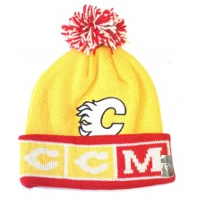 "NHL Officially Licensed Calgary Flames Yellow Red ""CCM"" Cuffed Pom Beanie Hat Cap Lid"