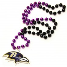 Baltimore Ravens Large Mardi Gras Spirit Beads With Logo Medallion