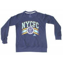 MLS Officially Licensed New York City Football Club Navy and Baby Blue Sweatshirt With Orange Trim (Small)