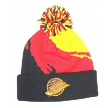 NHL Officially Licensed Vancouver Canucks Mitchell & Ness Black Red Yellow Broken Stripe Cuffed Pom Beanie Hat Cap