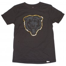 NFL Officially Licensed Chicago Bears Reflective Gold Outline Logo Black Youth T-Shirt (Medium 10-12)