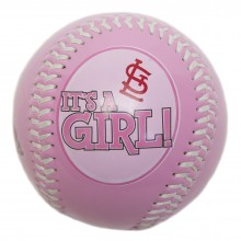 "MLB Licensed ""It's A Girl"" Pink Collectible Baseball with Display Stand (St. Louis Cardinals)"