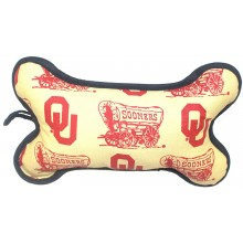 NCAA Officially Licensed Oklahoma Sooners Squeaky Plush Dog Bone Toy