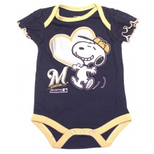 MLB Licensed Milwaukee Brewers Girls Snoopy Bodysuit Creeper Crawler (12 Months )