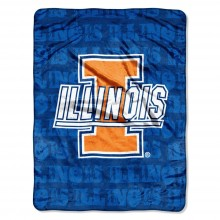 NCAA Officially Licensed University of Illinois Fighting Illini Micro-rachel Plush Throw Grunge Design