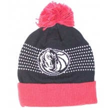 NBA Officially Licensed Dallas Mavericks Black Logo Dot Stripes Cuffed Pom Beanie Hat Cap Lid Toque