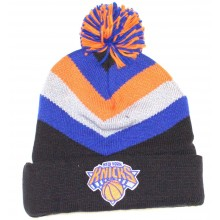 NBA Officially Licensed New York Knicks Mitchell & Ness Knit Black Blue Gray Orange Striped Cuffed Pom Beanie Hat C