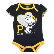 MLB Licensed Pittsburgh Pirates Girls Snoopy Bodysuit Creeper Crawler (0-3 Months )