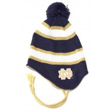 NCAA Officially Licensed Notre Dame Striped Pom Tassel Beanie Hat Cap Lid