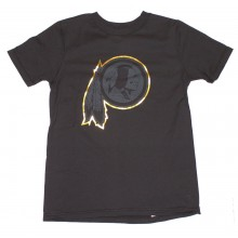 NFL Officially Licensed Washington Redskins Reflective Gold Outline Logo Black Youth T-Shirt (Large 14-16)