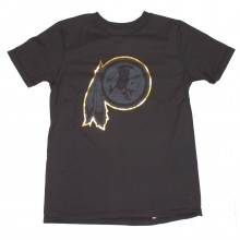 NFL Officially Licensed Washington Redskins Reflective Gold Outline Logo Black Youth T-Shirt (Small 8)