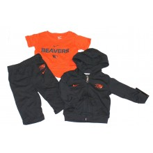 NCAA Licensed Oregon State Beavers 3 Piece Hooded Jacket, T-Shirt and Pant Set