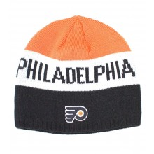 NHL Officially Licensed Philadelphia Flyers Striped Team Name Beanie Hat Cap Lid Skull