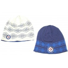 NHL Officially Licensed Winnipeg Jets Reversible Blue Dotted White Diamonds Uncuffed Embroidered Beanie