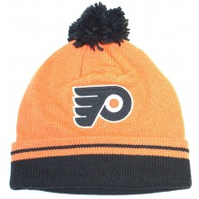 NHL Officially Licensed Philadelphia Flyers Mitchell & Ness Orange Black Logo Cuffed Pom Beanie Hat Cap Lid