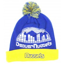 NBA Officially Licensed Denver Nuggets Blue Gold Retro Team Name Cuffed Pom Beanie Hat Cap Lid