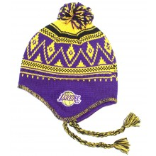 NBA Officially Licensed Los Angeles Lakers Mongolian Snowflake Style Winter Beanie Hat Cap Lid