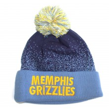 NBA Officially Licensed Memphis Grizzlies Mitchell & Ness Speckled Blue Navy Cuffed Pom Beanie Hat Cap Lid