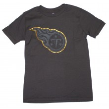 NFL Officially Licensed Tennessee Titans Reflective Gold Outline Logo Black Youth T-Shirt (Large 14-16)