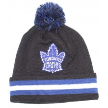 NHL Officially Licensed Toronto Maple Leafs Mitchell & Ness Black Logo Cuffled Pom Beanie Hat Cap Lid