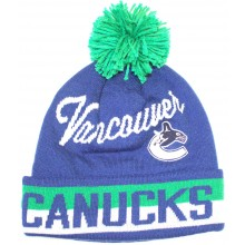 NHL Officially Licensed Vancouver Canucks Blue Team Name Cuffed Pom Beanie Hat Cap Lid Skull