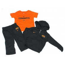 NCAA Licensed Oklahoma State Cowboys 3 Piece Hooded Jacket, T-Shirt and Pant Set