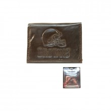Cleveland Browns Brown Leather Tri Fold Wallet