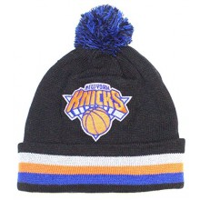NBA Officially Licensed New York Knicks Mitchell & Ness Knit Black Striped Cuffed Blue Black Pom Beanie Hat Cap Lid