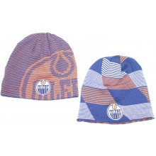 NHL Officially Licensed Edmonton Oilers Reversible Orange Blue Cuffless Beanie Hat Cap Lid