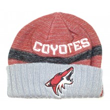 NHL Officially Licensed Arizona Coyotes Faded Red Gray Team Name Cuffled Beanie Hat Cap Lid