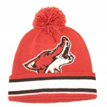 NHL Officially Licensed Arizona Coyotes Red Team Logo Cuffled Pom Beanie Hat Cap Lid