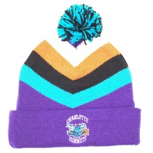 NBA Officially Licensed Charlotte Hornets Mitchell & Ness Purple Turquoise Black Orange Stripes Cuffed Pom Beanie H