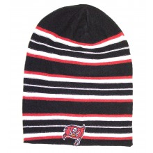 NFL Officially Licensed Striped Reversible Long Knit Beanie Hat Cap Lid (Tampa Bay Buccaneers)
