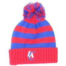 NBA Officially Licensed Los Angeles Clippers Red Blue Striped Cuffed Pom Beanie Hat Cap Lid Toque