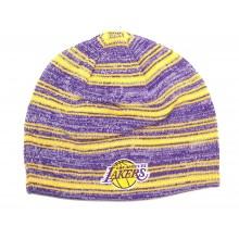 NBA Licensed Los Angeles Lakers Striped Reversilble Beanie Hat Cap Lid