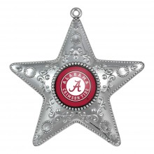 """Alabama Crimson Tide 4"""" Silver Star Ornament"""