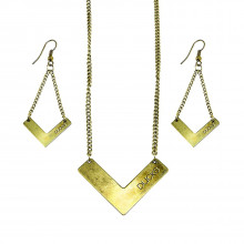 Anaheim Ducks Chevron Necklace and Earrings Set