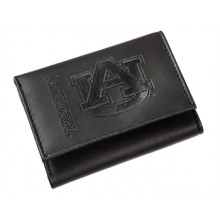Auburn Tigers Black Leather Tri-Fold Wallet