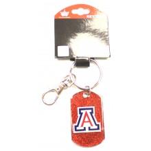 Arizona Wildcats Glitter Dog Tag Keychain