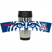 Arizona Wildcats Stainless Steel Travel Tumbler with 3D Logo Wrap, 15-Ounce